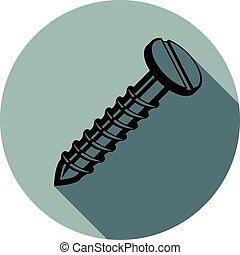 Elemento de diseño de ideas, perno 3D, ilustración vectorial muy detallada del tornillo. Construcción y fabricación parte aislada en blanco.