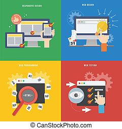 Elemento del concepto de desarrollo web en diseño plano