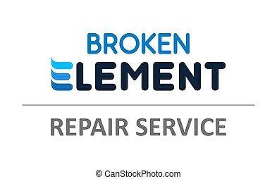 Elemento roto: ilustración vectorial para teléfonos, servicio de reparación de portátiles. La plantilla de logo de soporte técnico.