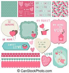 elementos, amor, -, invitación, vector, diseño, saludos, álbum de recortes, conjunto, tarjetas