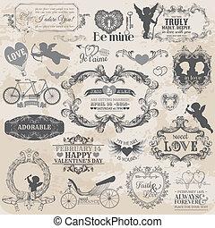 elementos, amor, valentino, vendimia, -, vector, diseño, álbum de recortes, diseño determinado