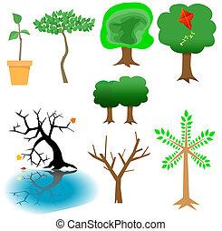 Elementos arbóreos, iconos de árboles