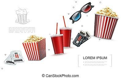 elementos, cine, realista, plantilla
