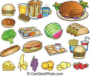 elementos, conjunto, alimento, bebida, vector, comida