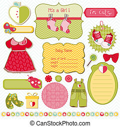 elementos, corregir, -, diseño, fácil, bebé, álbum de recortes