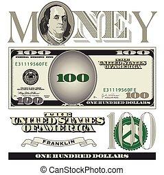 Elementos de billetes de 100 dólares