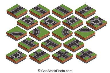Elementos de carretera. Kit de creación de mapas de la ciudad. Ilustración de vectores.