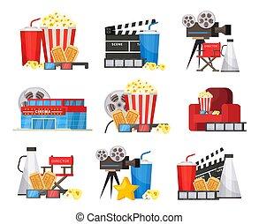 Elementos de cine coloridos