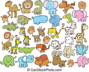 Elementos de diseño de animales fijados