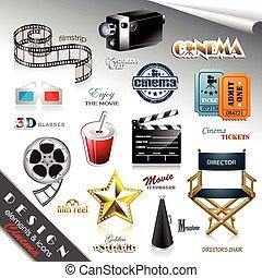 Elementos de diseño de cine y iconos