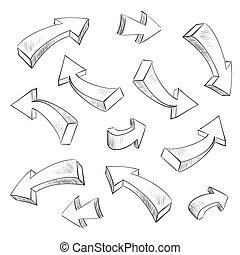 Elementos de diseño de flechas 3D marcaron el vector
