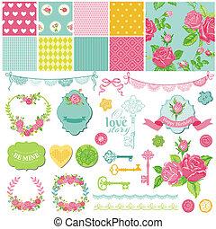 Elementos de diseño de libros de recortes florales, temática chic, en vector