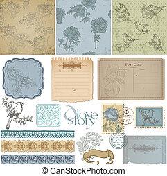 Elementos de diseño de manuales, ave antigua y peonía puestas en vector