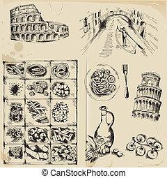 Elementos de diseño de manuales, dibujados a mano Italia en vector