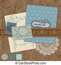 Elementos de diseño de manuales: flores de cosecha y marcos en vector