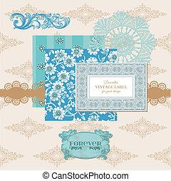 Elementos de diseño de manuales - tarjeta floreada con fotograma - en vector