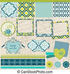 Elementos de diseño de Scrapbook, azulejos antiguos con marcos, en vector