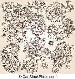 Elementos de diseño de tatuajes de henna