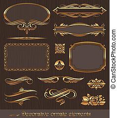 Elementos de diseño de vectores dorados y decoración de páginas