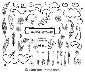 Elementos de diseño dibujados a mano