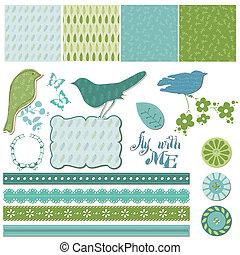 Elementos de diseño floral con aves en vector