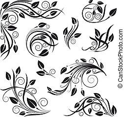 Elementos de diseño floral fijados
