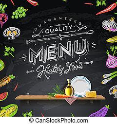 Elementos de diseño para el menú de la pizarra