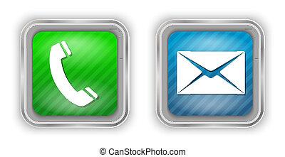 Elementos de diseño por teléfono y correo