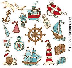 Elementos de Doodle Sea - para su diseño, álbum de recortes en vector