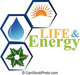 Elementos de energía del vector de logo de vida