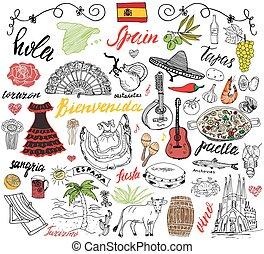 Elementos de garabatos españoles. Mano dibujada
