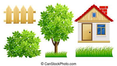 Elementos de jardín verde con casa y cerca