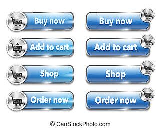 Elementos de la red metálica y botones para comprar en línea