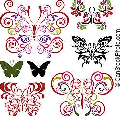 Elementos de mariposa listos