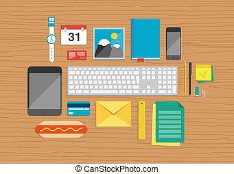 Elementos de oficina sobre ilustración