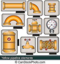 Elementos de oleoductos amarillos