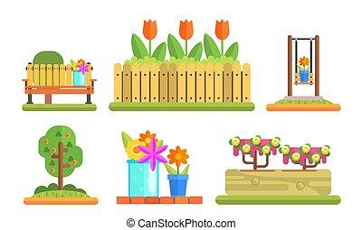 Elementos de parque y jardines listos, con flores florecientes y plantas, ilustración de vectores de madera