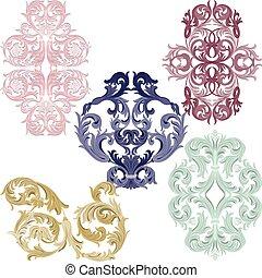 Elementos de patrones de Damasco fijados