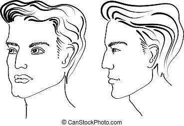 Elementos de peinado para salón con cara. Los retratos del hombre