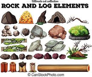 Elementos de roca y tronco