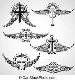 Elementos de vectores de tatuaje de la cruz y alas
