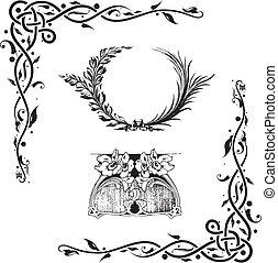 elementos, decorativo, diseño floral