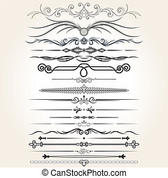 elementos decorativos, vector, regla, lines., diseño