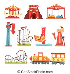 Elementos del parque de atracciones, atracción de la diversión vector de dibujos animados ilustraciones