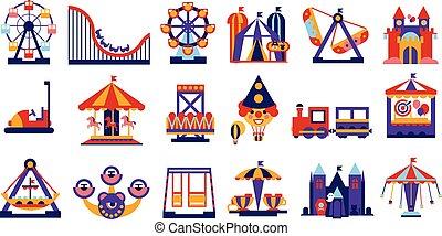 Elementos del parque de atracciones, la rueda, el circo, el carrusel, las atracciones establecen ilustración vectorial