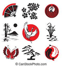 elementos, diseño, japonés