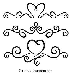 Elementos florales calígraficos