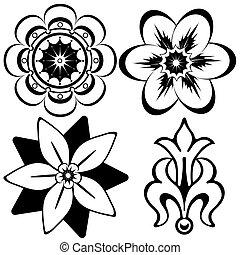Elementos florales de adorno para diseño (vector)