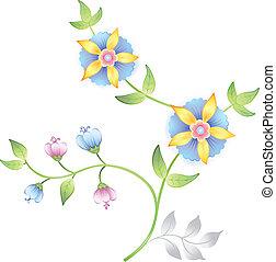 Elementos florales de decoración fijados