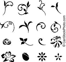Elementos florales de diseño fijados a la 01